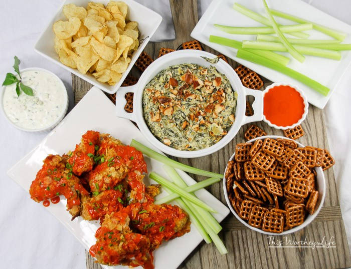 Potato Chip Buffalo Wings + Spinach Artichoke Dip with Cheesy Toasted Pretzels Pieces