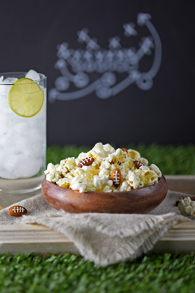 Almond Footballs and Kettle Corn Party Snack