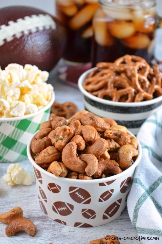 Roasted Rosemary Cashews {Plus Other Game Day Snacks!}