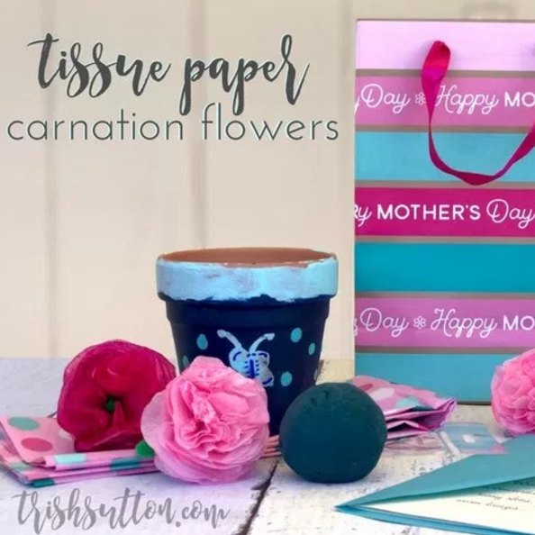 Tissue Paper Carnation Flowers; Make Her Mother's Day