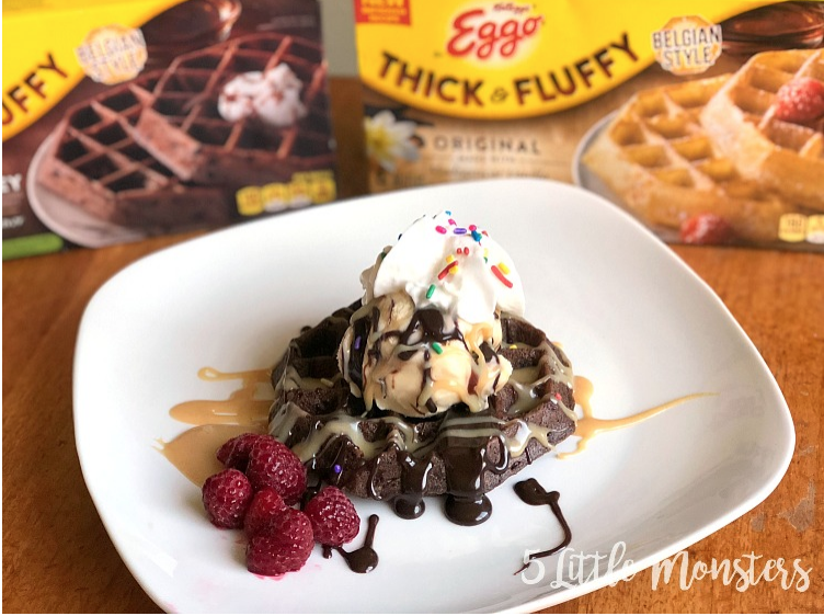 Waffle Sundaes with Hot Fudge and Peanut Butter Sauce