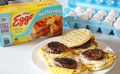 Eggo Buttermilk Waffles Sausage & Egg Breakfast Sandwich Recipe
