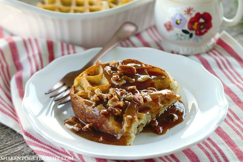 Overnight Waffle Breakfast Casserole with Brown Sugar Pecan Sauce